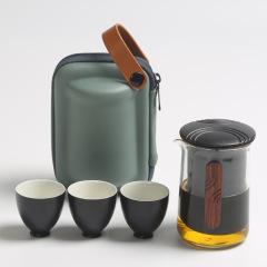 夫子快客旅行快客杯套装 玻璃公道杯内胆三杯收纳旅行粗陶茶具套装 文旅项目创意纪念品