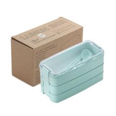 小麥秸稈三層便當盒 可微波多層分格帶餐具套裝飯盒 促銷禮品