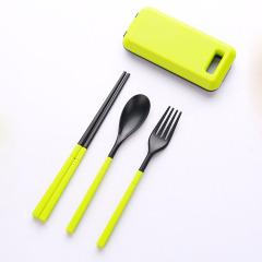 环保便携餐具三件套 折叠筷勺叉组合套装 活动小礼品