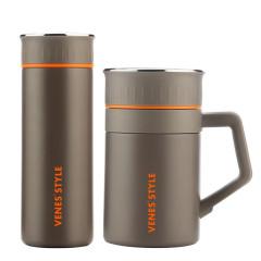 菲驰(VENES)316不锈钢茶杯保温杯两件套  商务送礼送什么