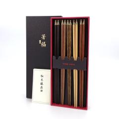 五福筷 高档铜头红木套装 五件套礼盒 200元左右实用礼品