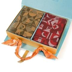"""【福贵吉祥】""""丝绸密码""""真丝绒围巾礼盒 2条真丝围巾礼盒 公司新年礼物发什么好"""
