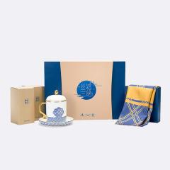 《丝路三绝》尊享版 真丝丝巾套装 男士长巾+男士杯+西湖龙井礼盒 高端商务礼物
