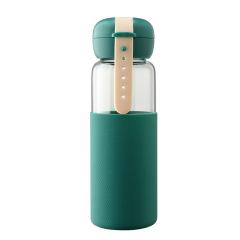 时尚创意表带提手玻璃杯 便携可伸缩随身水杯 简约玻璃水杯350ML 活动奖品