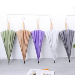 日系简约古风文艺16骨长柄木质晴雨伞直杆伞 做开业活动准备的一些礼品