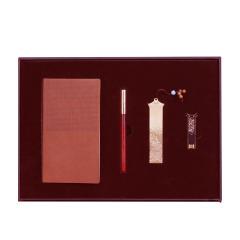 【雅记】商务特色红木伴手礼四件套 记事本签字笔U盘书签 公司纪念品