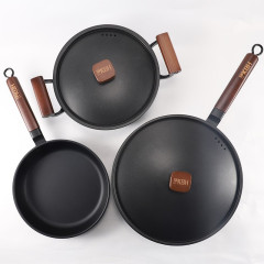 康巴赫(KOBACH)传统老铁锅三件套 炒锅+平底锅+汤锅 公司活动礼品