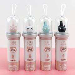 可爱猫吃鱼 萌猫鱼骨胶囊数据线 中国促销礼品