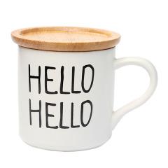 SWEET TIME HELLO HELLO创意简约英文陶瓷马克杯 带竹盖办公水杯定制 过年给客户送礼送什么好