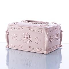 欧式玫瑰雕花纸巾收纳盒--北欧粉