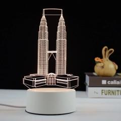 【来图定制】【双子塔】亚克力3D小夜灯 ABS环保底座 七种彩色灯随意变换 建筑行业相关 小礼品