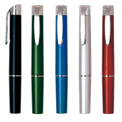 按动型医用LED灯笔 白色笔杆镀亮笔尖 创意医药促销礼品