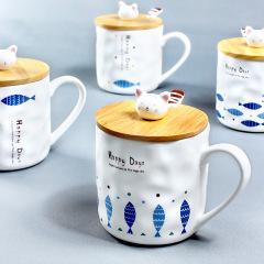 Happy Days 创意zakka 日式猫咪与鱼陶瓷杯 咖啡杯 小公司年会礼品推荐