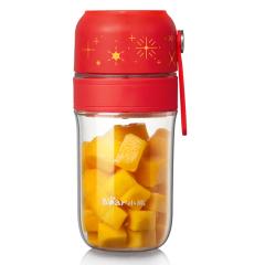 小熊(Bear)家用充电榨汁杯 便携随身料理机 充电式料理杯  限定嘉年华红