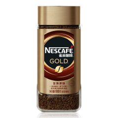 【京东伙伴计划—仅限积分兑换】瑞士进口 雀巢(Nestle) 金牌 黑咖啡粉 至臻原味 速溶 咖啡豆微研磨100g