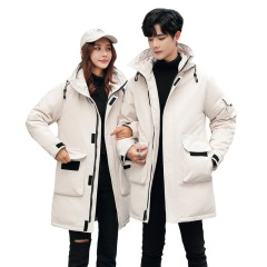 冬季绒中长款冬季男士羽绒服 加厚保暖男女同款外套 可定制logo