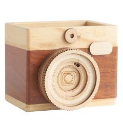 木质相机笔筒 创意相机模型桌面办公收纳 办公创意礼品