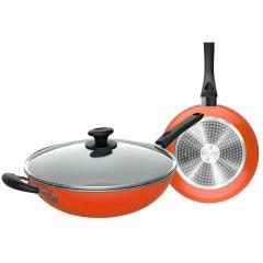 美的(Midea)锅具套装家用两件套 不粘炒菜锅煎锅套装炊具 MP-SL0202 桔色