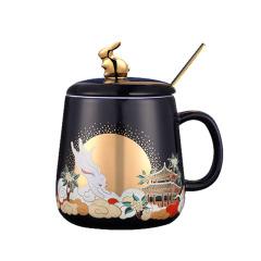 【故宫博物院】金桂浮月马克杯套装 送什么给客户比较好
