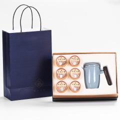 簡約茶具禮盒 便捷快客杯套裝 一壺六罐裝 送禮給客戶送什么好呢