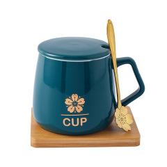 Sakura Cup陶瓷杯礼盒 带盖勺马克杯 竹底座办公杯 办公室小礼品