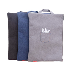 得力(deli)拉鏈手提袋 A4卡通圖案文件收納袋 創意辦公禮品