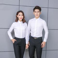 男女同款春夏季棉免烫长袖衬衫 职业商务通勤纯色衬衫 可定制公司logo