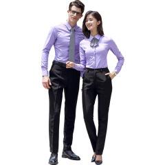 春秋季男女同款长袖衬衫 修身纯色商务正装 可定制公司logo