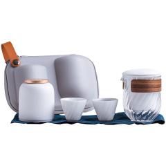 便捷式陶瓷玻璃茶具套装  一壶两杯 夏天什么礼品是爆品