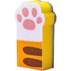 猫爪清洁海绵块三个装 家用厨房用品洗碗刷 厨房用具礼品赠品