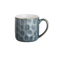 金边马克杯简欧风陶瓷杯 办公室咖啡杯 送员工的实用小礼品