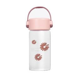 时尚小雏菊玻璃杯 带提手随行杯 韩版小清新水杯300ML 开业小礼品
