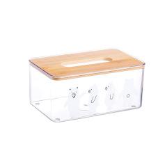 北欧抽纸盒桌面透明竹盖纸巾盒   桌面上的摆件