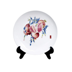 【廣彩多子多?!渴掷L創意陶瓷盤 桌面擺件 紀念禮品