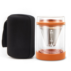 创意双层玻璃咖啡壶套装 冷热双用 商务礼品送什么合适