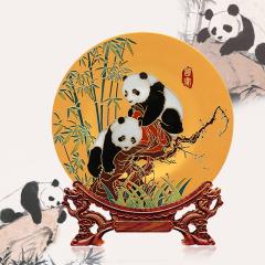 雅琅晶国宝熊猫精美雕刻手绘赏盘 礼品定制