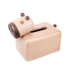 MUSOR 创意小牛纸巾盒 抽纸盒实木牙签筒二合一 创意小礼品