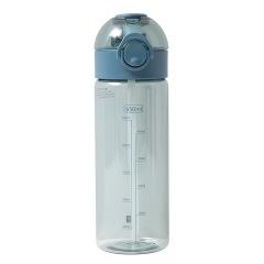 简约透明弹盖水杯 户外运动便携吸管杯 大容量塑料水杯650ML 运动会奖品