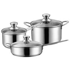 经典不锈钢三件套奶锅汤锅煎锅组合套装 创意实用礼品