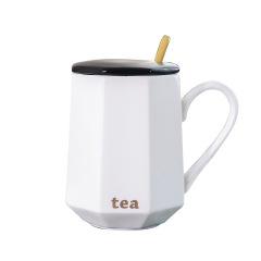 北欧陶瓷马克杯子创意咖啡杯带盖勺   商务礼品礼品