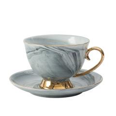 北歐簡約大理石紋陶瓷杯碟套裝 英式紅茶杯 創意情人節禮品