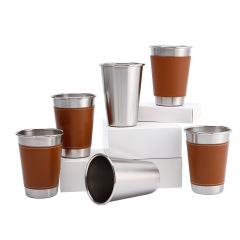 【来图定制】不锈钢工业风单层水杯 创意广告礼品杯 皮套logo定制