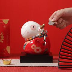 【钱进】牛年吉祥物存钱罐 创意陶瓷牛年储蓄罐 商务礼品赠送