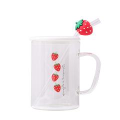 可爱草莓玻璃杯 带盖吸管水杯 办公室实用小礼品