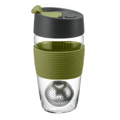 丹麦PO 大号时尚创意简约茶杯玻璃杯 茶水分离磁吸魔力杯玻璃杯355ML 高端客户伴手礼