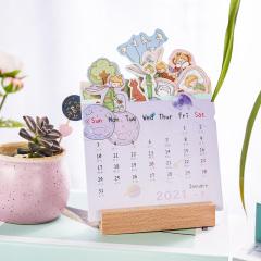 2021年创意木座日历 3D立体台历 清新可爱便签日历
