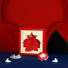 【千里共婵娟】2021年中秋节月饼礼盒 一级寿眉75g*3+团圆菓月饼22g*6 +月饼碟*2+刀叉*1组合套装