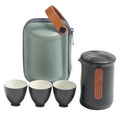 夫子快客杯旅行茶具套装 便携式简约功夫茶具陶瓷一壶三杯套装 送领导礼物