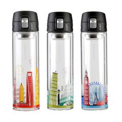 樂扣樂扣(Lock&Lock)城市系列雙層防燙玻璃杯 上海倫敦意大利主題保溫杯 單位比賽獎品買什么好