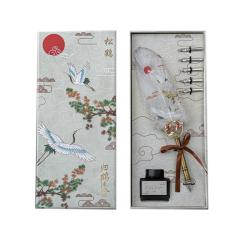 国潮风仙鹤系列羽毛笔钢笔礼盒 五款笔头+羽毛笔+墨水 有特色的公司礼品